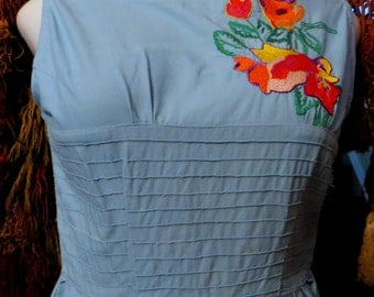 Unusual 40s Embroidered Mexican Dress
