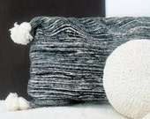 Moroccan POM POM Wool Pillow Cover - Black Bands
