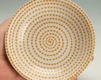 Small Ceramic Bowl, Jewelry Dish, Small Ceramic Dish, Dipping Bowl, Golden Ginger Vertigo Spiral and Dots Bowl Design