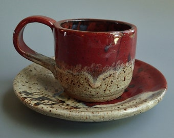 Stoneware Clay Espresso Cup and Saucer in Red