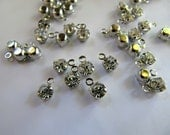Rhinestone Charms, Clear Crystal Dangles in Silver Tone, 6mm x 4mm, 50 Charms, Clear Gems, Glass Pendants