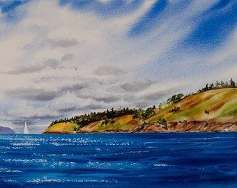 Spieden Island, Watercolor giclée, Orcas Island, San Juan Islands, Pacific Northwest, sailboat