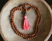 Coral Handmade Tassel, Lotus Seed & Rudraksha Mala Beads