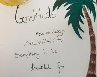 "Palm Reading: Gratitude -- Aloha, Palm Tree, Tropical 8""x10"""