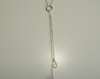 Long Y Necklace, Long Lariat Necklace, Green Amethyst Necklace, Karma Necklace, Circle Necklace, Layering Necklace