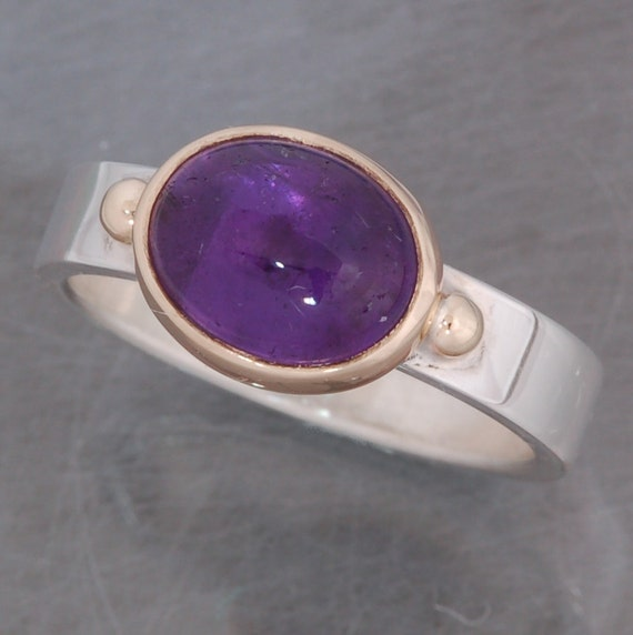 Oval Amethyst Cabochon Ring | Stackable | Purple