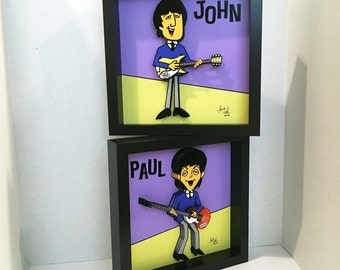 The Beatles John Lennon and Paul McCartney 3D Art 1960s Beatles Cartoon Print