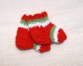 "BLACK FRIDAY ~ CYBER Monday- Waldorf Doll Clothes -Striped Christmas colors socks for foot  2   1/2"" size"