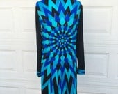 RESERVED for Nicole 1960s 1970s designer Mr. Dino art deco psychedelic black blue shift dress size L