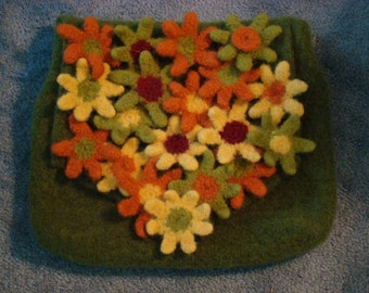 Large Hand Knit and Felted Messenger Bag with Felted 3-d flowers on Flap