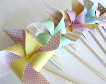 Paper Pinwheels 12 Party Favors Birthday Favors Birthday Decoration Pastel Favors Table Centerpiece Party Decoration Summer Wedding Favors