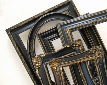 Picture Frame Picture Frame Set Black and Gold Picture Frames Wedding Frames Home Decor Shabby Chic Picture Frame Black Wall Decor Rustic