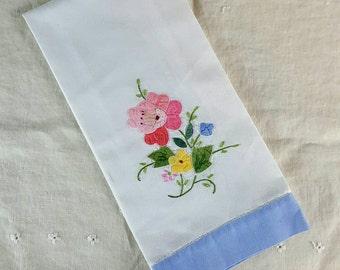 Vintage Hand Towel, Linen Cotton Blend, Appliqued and Embroidered, Tea Towel, Floral Design, Light Blue Edge Band, Hand Hemmed