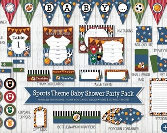 sports themed baby shower all star printable party pack baby shower decorations