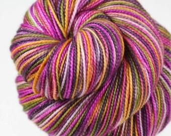 SEPTEMBER IRIS: Superwash Merino Wool-Nylon-Stellina Sparkle - Fingering / Sock Weight Yarn - Hand dyed Indie sock yarn - Variegated
