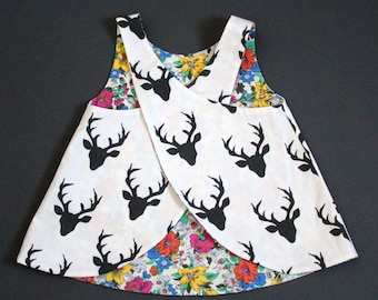 Flora and Fauna - a vintage pinafore - reversible - roses and stags