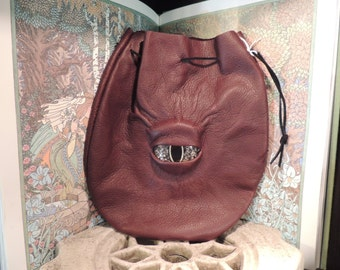 Large  Burgundy Leather Bag with Gold Eye---New Style---