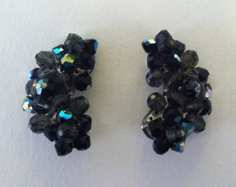 Midnight Blossom: Vintage Kidney Aurora Borealis Clip On Earrings in Blue and Black