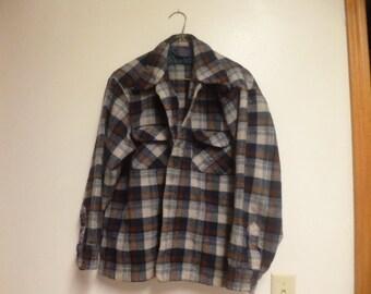 Blue and Brown Vintage Pendleton Plaid  Button Up Shirt M/L