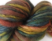 "Handspun Yarn Super Bulky Alpaca and Corriedale Wool 56 Yards Thick and Thin Hand Dyed  "" Gumbo  "" Doll Hair Knitting Crochet (2 avail.)"