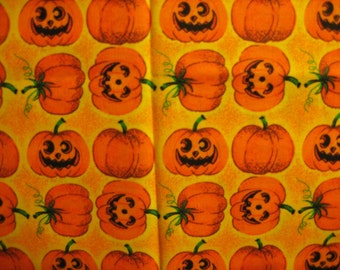 "Halloween Fabric 1/4 yard x 44"" Cute Smiling and Laughing Orange Pumpkins on Yellow"