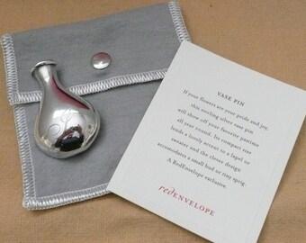 """Red Envelope Sterling Silver Initial """"I"""" Vase Pin - Sterling Silver Vase Pin"""