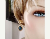 SHOP CLOSING SALE: Ashira Dramatic Sapphire Blue with Stunning Gold Flower Stud Earring