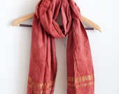 Madder and Brazilwood + Gold Fair Trade Handwoven Cotton Scarf