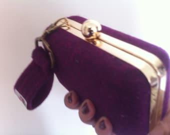 purple clutch bag wedding purse bridesmaids purse Harris tweed clutch evening bag