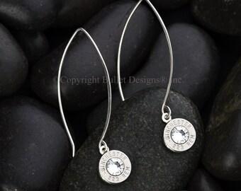 Bullet Earrings / Sterling Silver Marquis Drop Bullet Earrings WIN-#-N-MARE / Custom Earrings / Swarovski Crystal Earrings / Lightweight