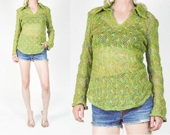 90's Green CROCHET Patterned Chunky KNIT Crop Sweater. Long Sheer Sleeves. 1990's Grunge Mod Sweater. Neon Green. Size S/M