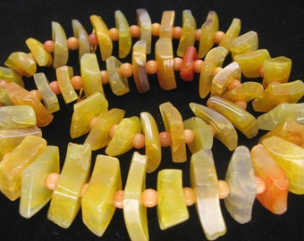 Beautiful Yellow Agate Greaduated Stacked Diamond Slab Beads