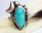 Turquoise Rope Ring Natural Royston Mine Sterling Silver Size 8
