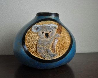 Hand Carved Koala Bear Gourd Bowl
