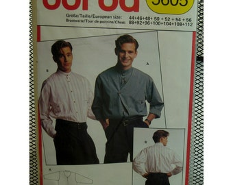 "Mens Shirt Pattern, Front Lap Over, Collar Band, Back Yoke, Welt Pockets, Burda No. 5605 Size 34-41"" (88-104cm)Chest,"