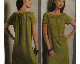 Shirred Neckline Dress Pattern, Short Raglan Sleeves, Pullover, Tom and Linda Platt Vogue American Designer 1091  UNCUT Size 18 20 22 24