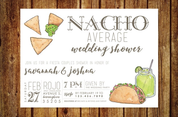 Wedding Shower Invitations For Couples: Nacho Average Wedding Shower Invitation Fiesta Wedding
