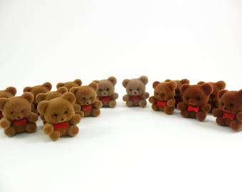 "14 Teddy Bears Flocked Miniatures 1"" H"