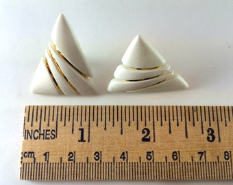 Gold and white triangle earrings