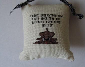 small pillow, mini pillow, door knob pillow, shelf sitter, room decor, home decor, encouragement statement pillow, cross stitched pillow