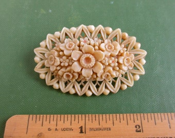 Occupied Japan Celluloid Flower Pin - Vintage