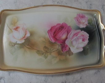 ANTIQUE RS Prussia Green Wheelock Mark Dresser Vanity Boudoir Porcelain Tray