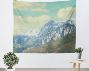 Mountain Tapestry - Landscape Tapestry - Blue and Green Decor - Utah Tapestry - Art Tapestry - Tapestry - Pastel Tapestry - Photo Tapestry