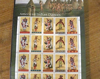 1995 Sheet of American Indian Dances USPS Postage Stamps