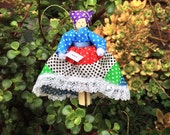 Brazil clothespin doll ORNAMENT, purple, green, blue, white and red dress - ready to ship