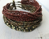 Multi Strand Cuff, Bohemian Bracelet, Czech Picasso Glass, Seed Bead Bracelet, Layered Color Mix,  Earthy Boho, Tribal Hippie, Oxblood Red