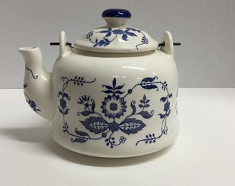 Vintage Teapot Tea Pot Blue and White Floral Willow Made in Japan with Metal Handle
