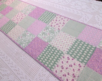 Quilted Cottage Chic Vintage Patchwork Table Runner