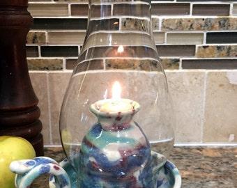 Pottery Oil Lamp in Multi Berry Glaze