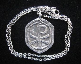 Handmade Chi Rho Cross on Chain